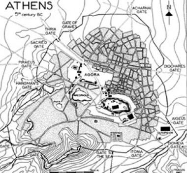 Mapa de Atenas no século V a.C.