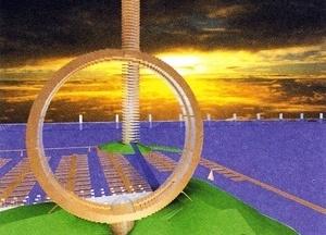 Torre de 1km na ilha de Contunduba e Hotel Roda Gigante na praia do Diabo. Arquiteto Sérgio Bernardes [Acervo Família Sérgio Bernardes]