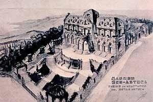 """Angel Pascual. Perspectiva de la """"Mansión Neo-Azteca"""" (1921). Buenos Aires (Argentina)."""