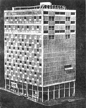 Maquete do projeto para o Edifício-sede do IPÊ (1943), de Oscar Niemeyer. [XAVIER, Alberto; MIZOGUCHI, Ivan. Arquitetura Moderna em Porto Alegre, São Paulo, Pini, 1987, p. 27]