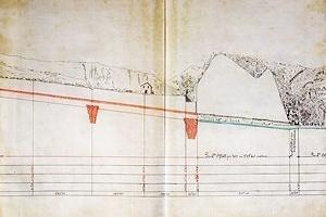 Fig. 2 - Detalhe de perfil do projeto de irrigação de Plegamans, do punho do próprio Gaudí. Notar as barragens subterrâneas, que seriam executadas em alvenaria de tijolos [Arquivo da Coroa de Aragon, Barcelona.]