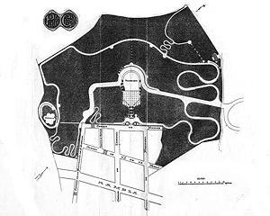 """Fig. 5 - Planta do parque anexada ao artigo """"El Parque Güell. Memoria descriptiva"""", de autoria de Salvador Sellés, publicado em 1903 [Salvador Sellés, 1903]"""