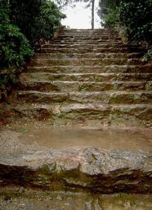 Fig. 8 - As escadas drenantes, limitando os lotes, controlam o escorrimento pluvial