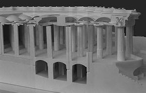 Fig. 10 - A praça central do parque tem sua estrutura baseada em cúpulas apoiadas no topo de colunas. Muitas das colunas são ôcas, permitindo que a água absorvida pela praça desça até o interior da grande cisterna, abaixo [Maquete realizada pela equipe da profa. Laura Baringo /ETSAV/UPC]