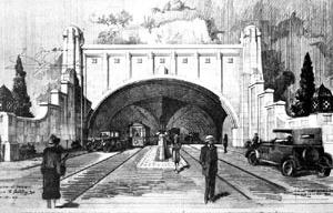 Projeto de túnel ligando a Avenida São João à Rua 25 de Março, São Paulo [TOLEDO, op. cit.]