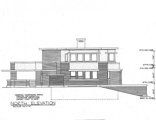 Emil Bach House, elevação norte, North Sheridan Road, Chicago, Estados Unidos, 1915. Arquiteto Frank Lloyd Wright<br />Redesenho J. William Rudd, 1965  [Library of Congress / U.S. Government]