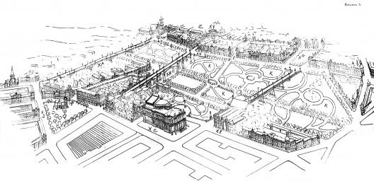 Perspectiva da área do Parque do Anhangabaú. Projeto de Freire e Guilhem [FREIRE, 1911]