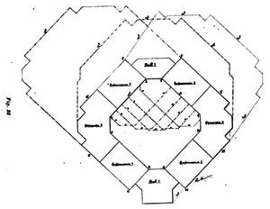 Diagrama de insolação e projeção de sombras em dois momentos (ALBUQUERQUE, 1916) - Diagrama apresentado em meados dos anos 1910, em estudo de Alexandre de Albuquerque para hospital em São Paulo