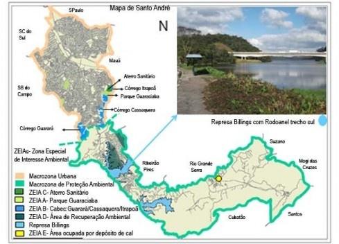 Mapa de Macrozonas e ZEIAs de Santo André<br />Adaptação e imagem da autora  [Mapa da Prefeitura Municipal de Santo André - Revisão do Plano Diretor]