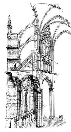 Catedral de Notre Dame, Paris. Desenho de Viollet Le Duc do sistema construtivo gótico