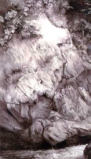 Estudo de Gneiss Rock, desenho em nanquim de John Ruskin. Glenfinlas, 1853