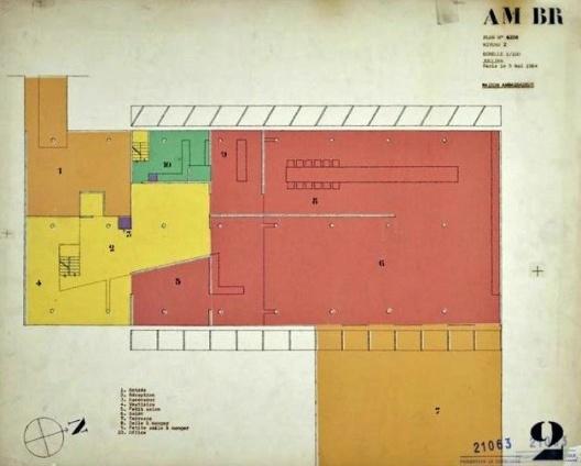 Embaixada da França, residência do embaixador, planta primeiro andar, Brasília, 1962-1964, arquiteto Le Corbusier<br />Imagem divulgação  [Fondation Le Corbusier]