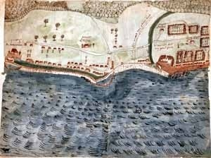 Mais antiga representação da cidade de Belém do Grão-Pará no século XVII.  [Original manuscrito do Algemeen Rijksarchief, Haia]