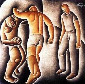 """Vicente do Rego Monteiro, """"O combate"""", pintura, 1927 [Acervo Museu de Grenoble]"""