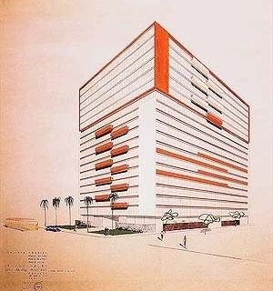 """Abelardo Riedy de Souza, """"Edifício Três Marias, perspectiva"""", desenho de arquitetura, São Paulo,1952 [Acervo Biblioteca FAU USP]"""