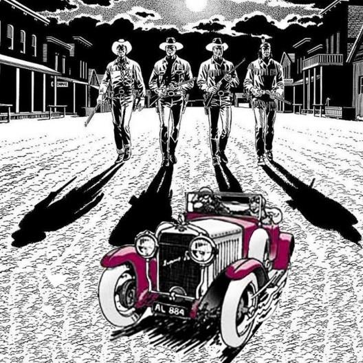 Quatro cowboys e o carro vermelho<br />Colagem de Abilio Guerra