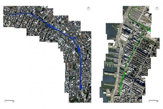 Foto aérea com marcação do Elevado (à esquerda) e High Line (à direita)<br />Montagem Google Earth, demarcação da autora