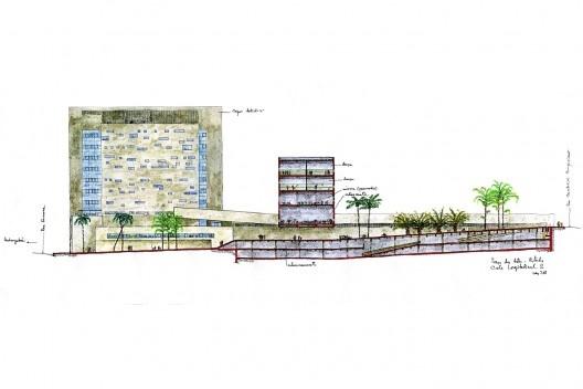 Praça das Artes, corte longitudinal do complexo, São Paulo. Escritório Brasil Arquitetura e arquiteto Marcos Cartum [Brasil Arquitetura]