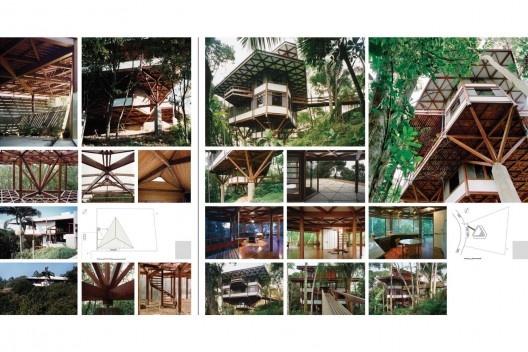 Exposição Território de Contato, Marcos Acayaba, painel de edifícios com módulos triangulares (parte 2)<br />Painel de Estudio Campo