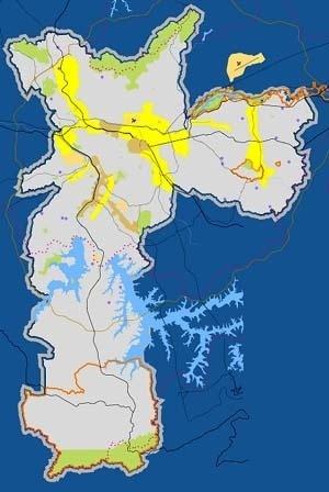 Plano Diretor Estratégico: operação urbana: localização das operações urbanas em São Paulo: vigentes (ocre) propostas no PDE 2002 (amarela)