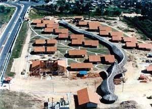 Vista aérea da Aldeia SOS do Amazonas, Manaus, 1994, Arquiteto Severiano Porto