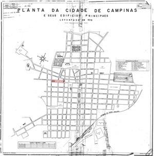 Mapa de Campinas em 1878.  Observa-se as duas ruas sinuosas no meio do traçado ortogonal do centro da cidade. Sob a ponta do desvio, o largo de fundação da cidade (marcado em vermelho). Campinas toma forma pelo movimento