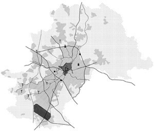 Região mais escura,centro da cidade.Mancha maior,área urbanizada de Campinas.Entretenimento, i. e., shoppings (quadrados pretos).As letras T representam terminais de ônibus.Destaque na parte inferior demarca a área do aeroporto de Viracopos