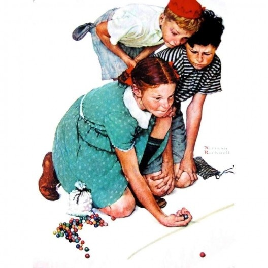 Crianças jogando bola de gude, pintura de Norman Rockwell, 1939<br />Imagem divulgação