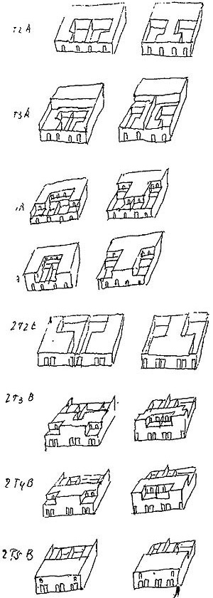 Fig.5 –Sketches by Álvaro Siza of house-patio variations [FLECK , Brigitte. Ávaro Siza. Londres: Chapman & Hill , 1995]
