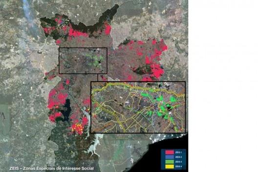 Localização das Zonas Especiais de Interesse Social (ZEIS) na cidade de São Paulo<br />Fonte SÃO PAULO (SP). Secretaria Municipal de Habitação. HABISP: Mapeando a Habitação na