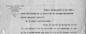 Carta de Estrada a Ezequiel Bustillo respecto a terrenos de Bariloche [Colección familia Estrada]
