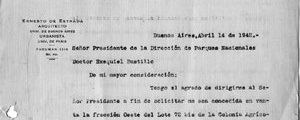 Carta de Estrada a Ezequiel Bustillo a respeito dos terrenos de Bariloche [Colección familia Estrada]