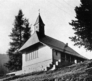 Capela na Alemanha (1936) que evidencia as identificações formais das obras de Bustillo e Estrada desde esta etapa de Parques Nacionais