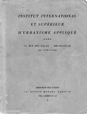 Folheto do Instituto Superior de Urbanismo de Paris realizado sob a direção de Gastón Bardet [Colección CEDODAL]
