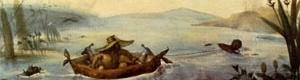 """Aquarela de Debret retratando uma """"pelota"""" , pequena embarcação indígena de onde originou-se o nome da cidade de Pelotas"""