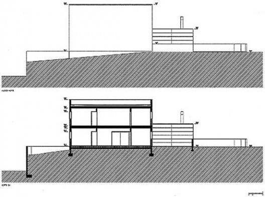 Casa Milhundos, fachada norte e corte