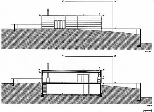 Casa Milhundos, fachada sul e corte