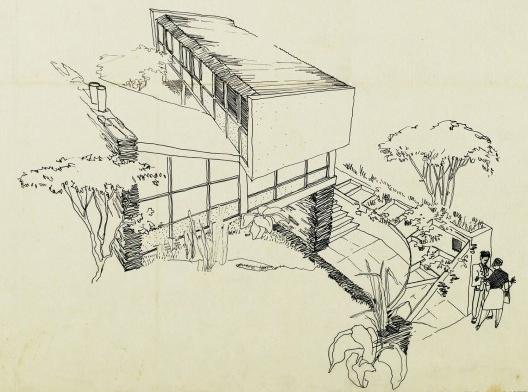 Casa Hanns Vitor Trostli, detalhe da perspectiva do primeiro estudo, São Paulo, 1948. Arquiteto Vilanova Artigas [Acervo FAU USP / COTRIM, Marcio. <i>Construir a casa paulista</i>]