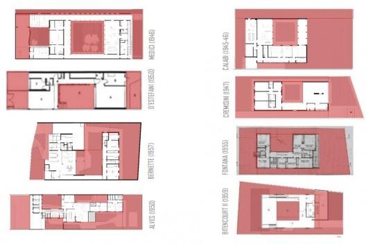 Diagramas de ocupação dos lotes das casas Medici (1946), Bernette (1954), Alves (1950), Perez (1957); D'Estefani (1950), Calabi (1945-46), Cremisini (1947), Fontana (1955), Bitencourt II (1959)<br />Ana Elísia da Costa