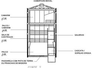 Teatro Oficina, corte 2 do projeto de Lina e Elito [Escritório Arquiteto Edson Elito]