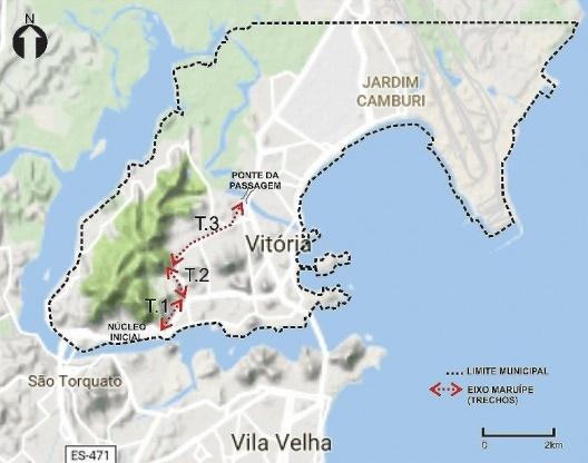 Mapa do município de Vitória, com identificação do Eixo Maruípe subdividido em três trechos<br />Elaborado pela autora a partir de base do Google Maps