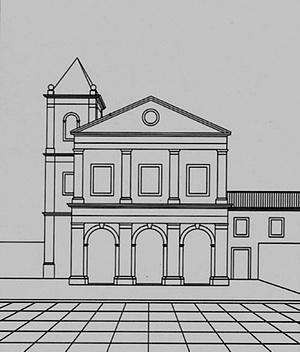 Possível fachada sincera da igreja franciscana de Cairu <br />Desenho Helena de Cássia Nogueira