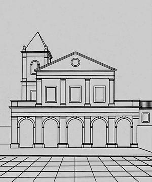 Possível fachada, sem decoração, da igreja franciscana de Cairu<br />Desenho Helena de Cássia Nogueira