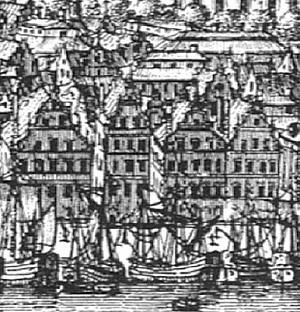 Vista de Estocolmo, Suécia, em 1693<br />Gravura de W. Swidde