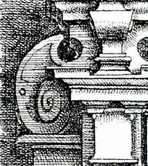 Voluta na Lâmina 102 do livro de Dietterlin [Dietterlin, Architectura, 1598]