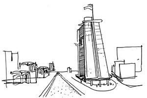 Croqui do arquiteto: novo projeto<br />Croqui Roberto Loeb