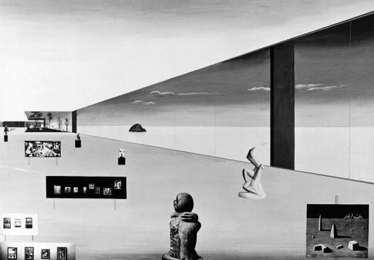 Fotomontagem da Pinacoteca do Museu à Beira do Oceano, projetado para a cidade de São Vicente, SP, 1951