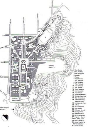 Fig. 1 - Plano Geral de Karl Brunner, 1931 [GARCIA MOLINA, Jaime. Universidad de Concepción, 1994]