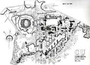 Fig. 14 - Universidad Nacional Autónoma de México. Plano de Conjunto mayo de 1952. Mario Pani, Enrique del Toral [ADRIÂ, Miquel; Mario Pani La construcción de la Modernidad]
