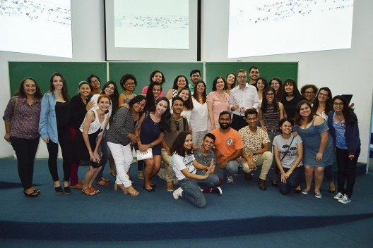 Membros do LAHCA, LAMEMO e LEDH no Auditório do PPGITEC<br />Foto Douglas Naegeli